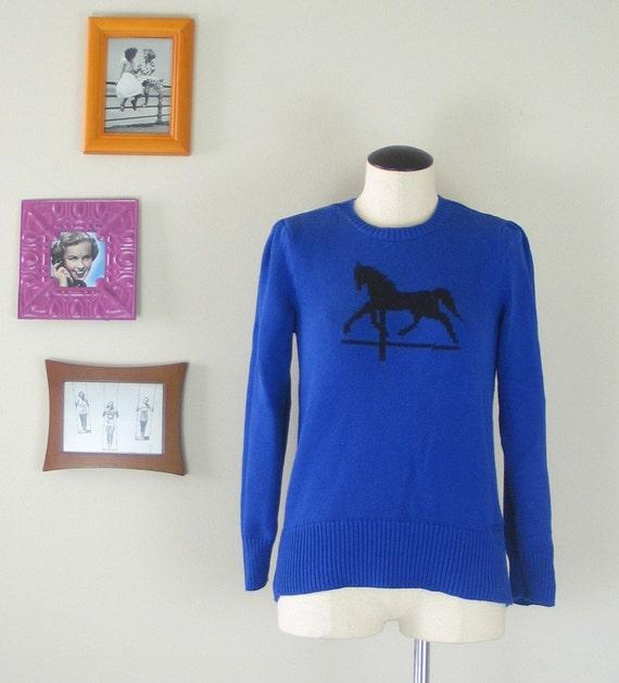 Vintage Carousel Cotton Sweater (Small-Medium)