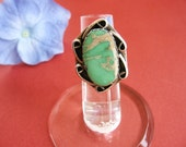 Vintage Green Turquoise Ring Sterling Silver Southwestern
