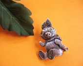 Vintage Sterling Silver Marcasite Rabbit Pin / Brooch with Green Gem Eyes