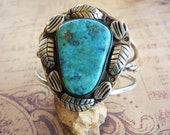 Vintage Sterling Silver Turquoise Bracelet Cuff with Blossom Leaves - Large Stone