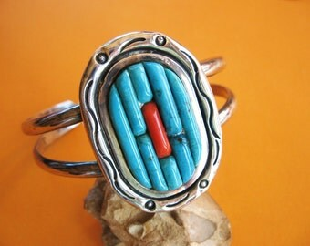 Vintage Turquoise Bracelet Coral Sterling Silver Cuff Corn Row Style Jewelry