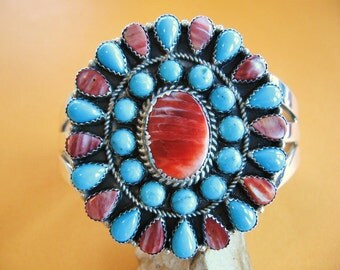 Vintage Navajo Sterling Silver Bracelet Spiny Oyster and Turquoise Cluster Cuff