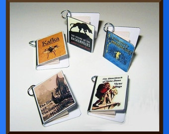 Classics Theme Miniature Book Charms 5 in Set Steampunk Style