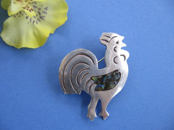 Vintage Taxco Sterling Silver Abalone Rooster Pin Brooch