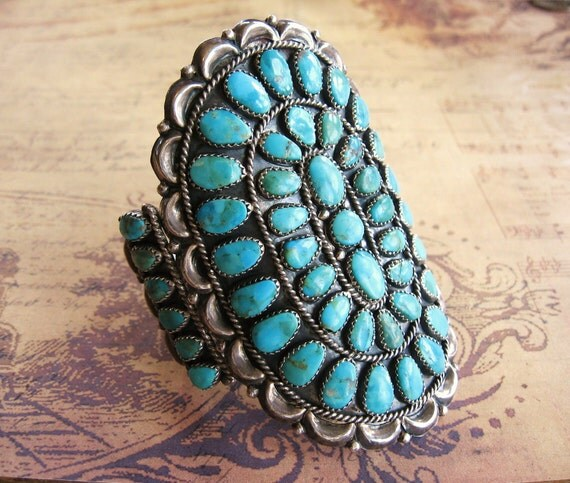 Reserved for Virginia Only Please---Vintage Sterling Silver Turquoise Bracelet Cluster Cuff