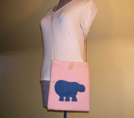 Upcycled Wool Hippo Purse