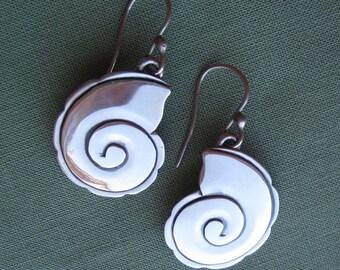 Nautilus Earrings, Handmade Sterling Silver, Artisan Jewelry