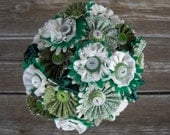 Green and Ivory Button Fabric Lace Wedding Bride Bouquet