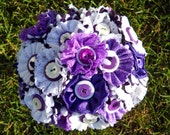 Purple White Button Wedding Bouquet Bride Satin and Lace