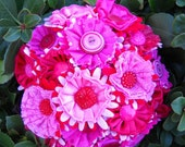 Be Mine Pink and Red Brides Wedding Button Fabric Bouquet Satin Lace