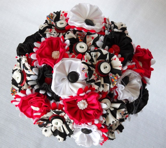 Las Vegas Poker Destination Button Fabric Wedding Bouquet Centerpiece