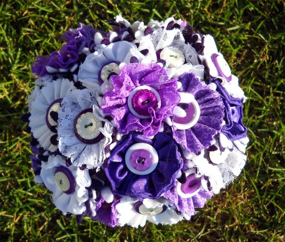 Purple White Button Wedding Bouquet Bride Satin and Lace
