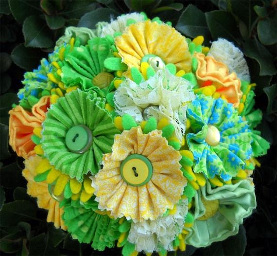 Lemon Lime Button Fabric Wedding Bridal Bouquet