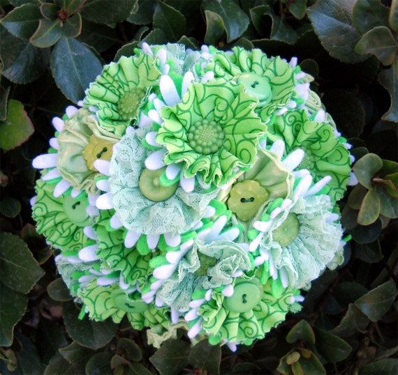 Lime Green Fabric Button Wedding Bride Bouquet Satin and Lace