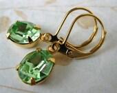 Peridot Green Vintage Rhinestone Earrings Swarovski Crystal Gold