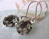 Black Diamond Vintage Rhinestone Earrings Grey Swarovski Crystal Silver