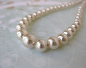 Vintage Pearl Necklace. Ivory With Silver Clasp. Perfect Classic Pearls