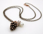 Vintage Charm Necklace Fall Flower Pine Cone Pearl Copper