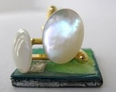Cufflinks Vintage Ivory Mother of Pearl Gold Cuff Links