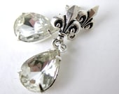 Marie Antoinette Vintage Rhinestone Earrings Crystal Post Silver Antiqued Fleur de Lis