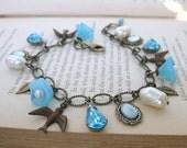Vintage Charm Bracelet Pearls Rhinestones Flowers in Antiqued Brass Blue Skies