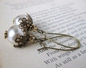 Vintage Pearl Earrings Filigree Swarovski Crystal Antiqued Brass Haskell Glass Pearl. Wagner