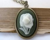 Olive Rose Vintage Flower Necklace Antiqued Brass Pendant