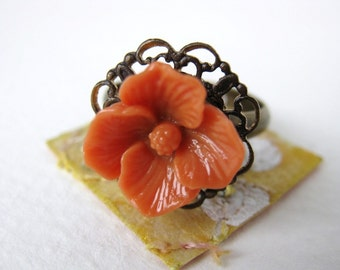 Flower Ring Vintage Coral Cabochon Antiqued Filigree Brass Persimmon