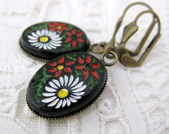 Flower Earrings Vintage Glass Antiqued Brass Black Red White Painted Fall Flowers