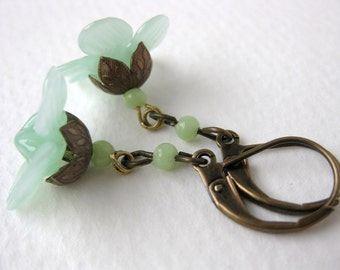 Peridot Camelia Flower Earrings. Vintage Mint Green Glass, Antiqued Brass