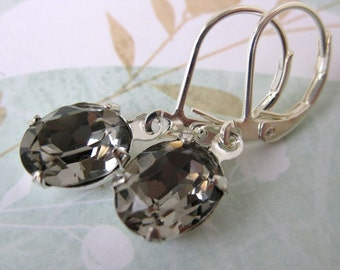 Black Diamond Vintage Rhinestone Earrings Grey Swarovski Crystal Silver