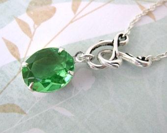 Vintage Rhinestone Necklace Emerald Green in Silver Estate Style. Emerald City