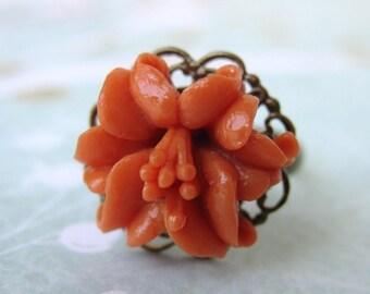 Flower Ring Vintage Coral Lily Brass Filigree Adjustable Antiqued