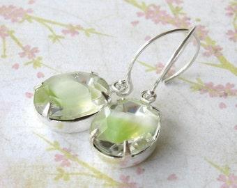 Vintage Peridot Rhinestone Earrings, Green Givre, in Silver. Spring Green