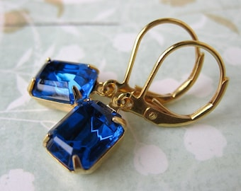 Capri Blue Vintage Rhinestone Earrings Swarovski Crystal Sapphire in Gold
