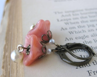 Coral Pearl Earrings. Vintage Flowers, Antiqued Brass