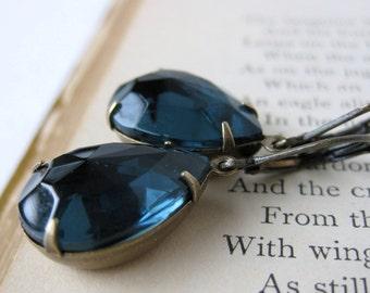 Vintage Rhinestone Earrings Sapphire Jewel Pears Brass Antiqued Montana