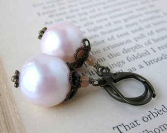 Blush Pink Pearl Earrings Vintage Glass Pearls Moonstone Antiqued Brass Filigree. Whisper