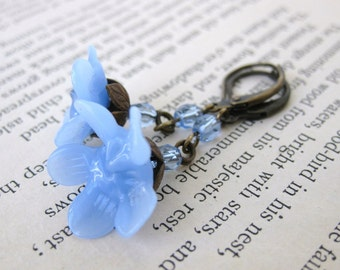 Vintage Flower Earrings. Periwinkle Blue Glass, Antiqued Brass