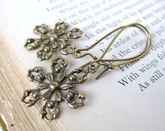 Snowflake Earrings Vintage Style Charm Earrings. First Snow