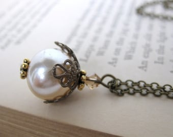 Vintage Pearl Necklace Filigree Swarovski Crystal Antiqued Brass Haskell Glass Pearl. Wagner