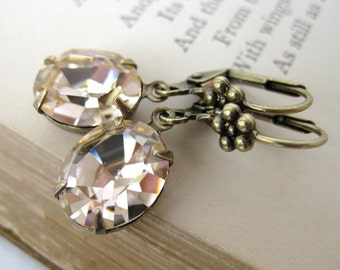 Vintage Rhinestone Earrings Swarovski Crystal Light Peach Antiqued Brass