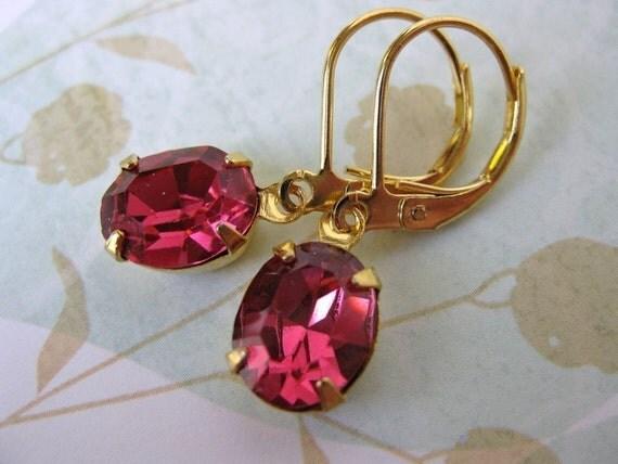 Pink Vintage Rhinestone Earrings Rose Swarovski Crystal Gold
