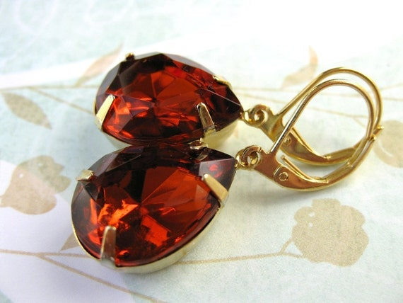 Vintage Rhinestone Earrings Topaz Amber Teardrops Gold Madeira Pear