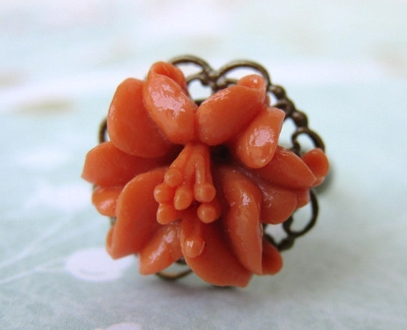 Flower Ring Vintage Coral Lily Brass Filigree Adjustable Antiqued