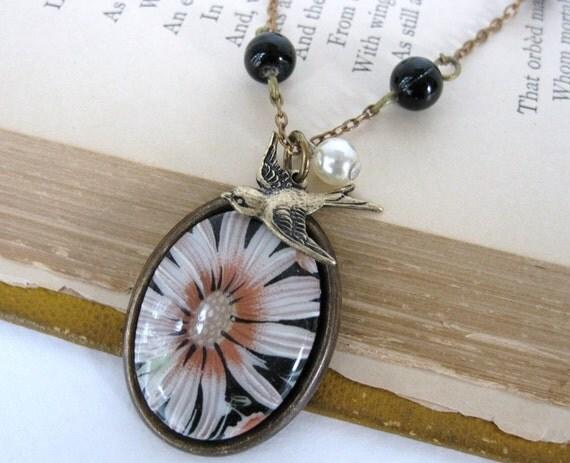 Vintage Flower Necklace Bird Charm Pearl Black Bead Chain
