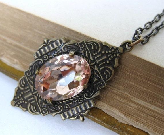 Vintage Rhinestone Necklace Pink Jewel Art Deco Rosaline Antiqued Brass