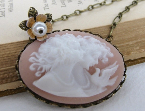 Vintage Cameo Necklace Flower Charm Pearl Pink White Bird Pendant. Blush