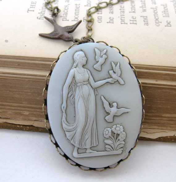 Vintage Cameo Necklace Pendant Long Ivory Glass Aphrodite Bird Goddess Antiqued Brass
