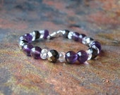 Grounding and Protective Amethyst\/Hematite\/Quartz Crystal Bracelet
